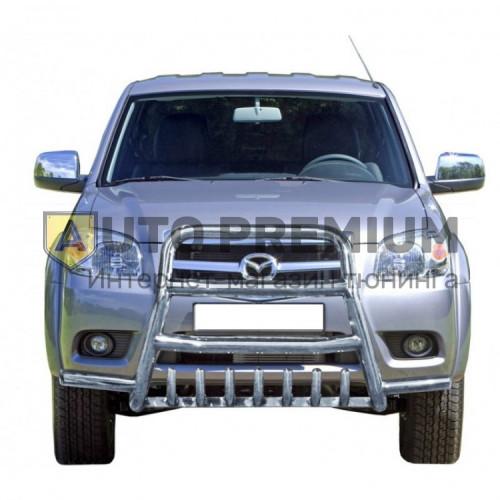 Защита переднего бампера Высокая с дополнительной защитой двигателя С усами на Mazda BT-50 picup (нержавейка)
